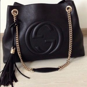 Authentic Gucci Large Soho Black Shoulder Bag